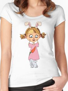 Funny bunny girl Women's Fitted Scoop T-Shirt