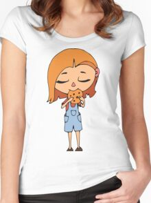 Girl with cookie Women's Fitted Scoop T-Shirt