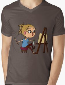 Artist at work Mens V-Neck T-Shirt
