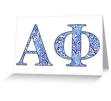 Alpha Phi Blue Plant Design Greeting Card
