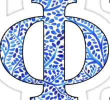 Gamma Phi Beta Blue Plant Design Sticker