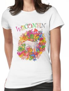 Psychedelic Wisconsin Kid Goat Womens Fitted T-Shirt