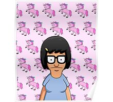 Tina Belcher Unicorn Pattern Pink Poster