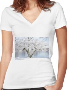 Winter blossoms - Cherry Tree  Women's Fitted V-Neck T-Shirt