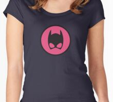 Pink Catwoman Emblem Women's Fitted Scoop T-Shirt