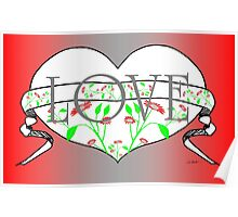 Floral Love Heart Design by Kat Worth Poster