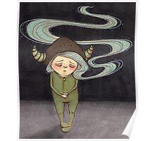 Sad Little Gnome Girl Poster