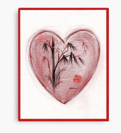 Sacred Love - Colored Pencil Heart Drawing Canvas Print