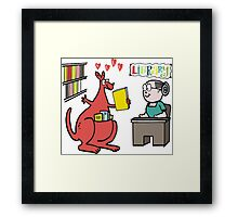 Cartoon of happy kangaroo taking out library book Framed Print
