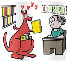 Cartoon of happy kangaroo taking out library book Poster