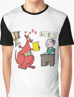 Cartoon of happy kangaroo taking out library book Graphic T-Shirt