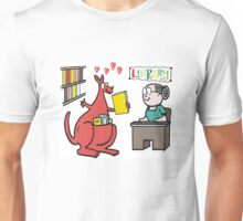 Cartoon of happy kangaroo taking out library book Unisex T-Shirt
