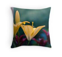 Yellow Lily Print Throw Pillow