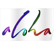 Aloha - Tropical Hand Lettering - Sails and Waves Calligraphy on White - Hawaii Hawai'i Poster