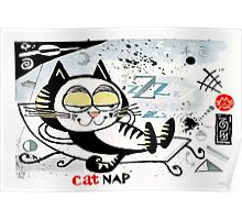 Cartoon illustration of happy cat taking a nap Poster