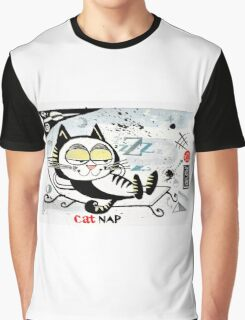 Cartoon illustration of happy cat taking a nap Graphic T-Shirt