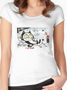 Cartoon illustration of happy cat taking a nap Women's Fitted Scoop T-Shirt