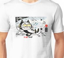 Cartoon illustration of happy cat taking a nap Unisex T-Shirt