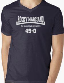 Rocky Marciano The Brooklyn Blockbuster 49-0 Logo Mens V-Neck T-Shirt
