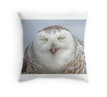 Smiling Snowy Owl Throw Pillow