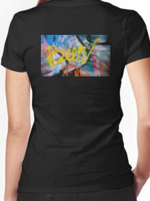 Abstract Graffiti Wall Art Photography - Have a Beer! Women's Fitted V-Neck T-Shirt