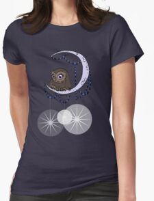 Mid Century Modern Night Owl Womens Fitted T-Shirt