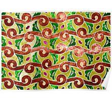 Indonesian Batik, fern pattern, green, brown, red Poster