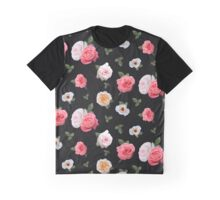 Painted Rose Pattern On Black Graphic T-Shirt