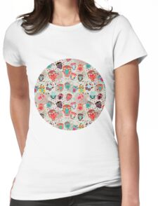 Owls on cream background Womens Fitted T-Shirt