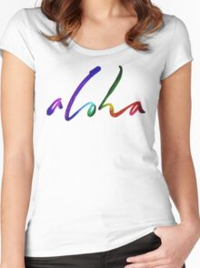 Aloha - Tropical Hand Lettering - Sails and Waves Calligraphy on White - Hawaii Hawai'i Women's Fitted Scoop T-Shirt