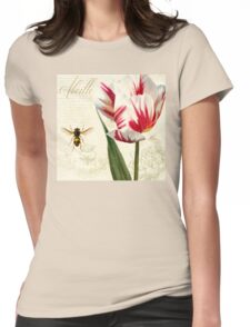 Natural History Sketchbook I Botanical study bumble bee, tulip Womens Fitted T-Shirt