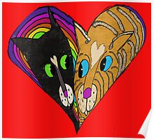 Colorful Heart Love Cats Poster