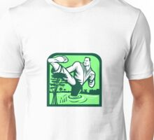 Martial Arts Fighter Kicking Cypress Tree Retro Unisex T-Shirt