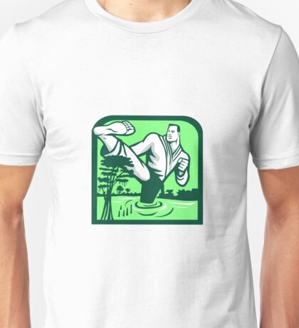 Martial Arts Fighter Kicking Cypress Tree Retro Unisex T-Shirt