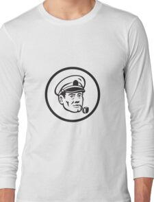 Sea Captain Smoke Pipe Circle Retro Long Sleeve T-Shirt