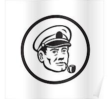 Sea Captain Smoke Pipe Circle Retro Poster