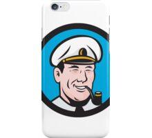 Smiling Sea Captain Smoking Pipe Circle Retro iPhone Case/Skin