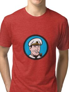 Smiling Sea Captain Smoking Pipe Circle Retro Tri-blend T-Shirt