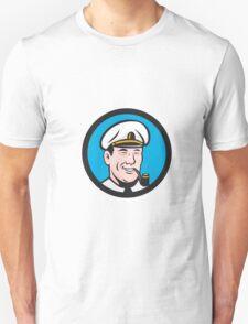 Smiling Sea Captain Smoking Pipe Circle Retro T-Shirt
