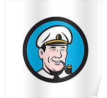 Smiling Sea Captain Smoking Pipe Circle Retro Poster