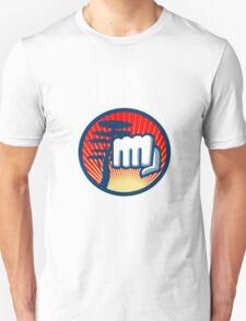 Fist Punching Cypress Tree Circle Retro T-Shirt