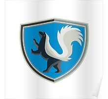 Skunk Prancing Side Crest Retro Poster