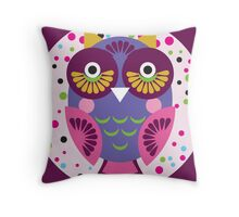 Purple owl Throw Pillow
