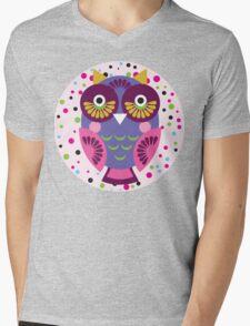 Purple owl Mens V-Neck T-Shirt
