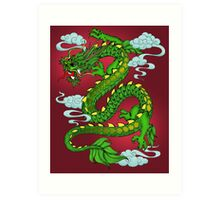 Chinese Dragon - Green on Red Art Print