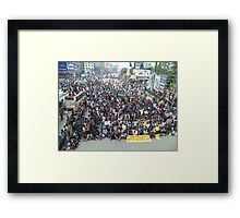 Private university students in Dhaka protest VAT on tuition fees Framed Print