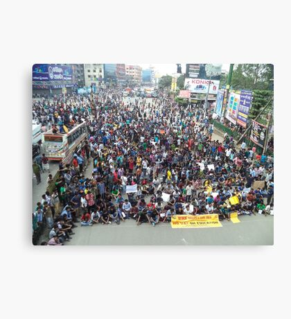 Private university students in Dhaka protest VAT on tuition fees Canvas Print