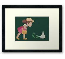 Mei & Chibi Totoro Framed Print