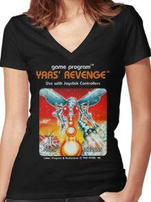 Yars' Revenge Cartridge Artwork Women's Fitted V-Neck T-Shirt