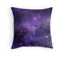 Purple Watercolor Space Pattern Throw Pillow